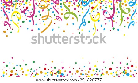 Carnival with many confetti and streamers - stock vector