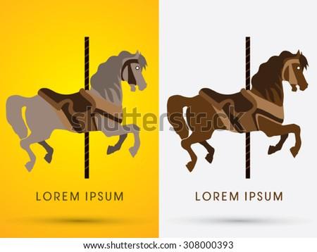 Carousel horse, graphic vector. - stock vector