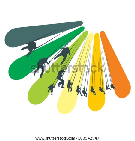 carousel silhouette - stock vector