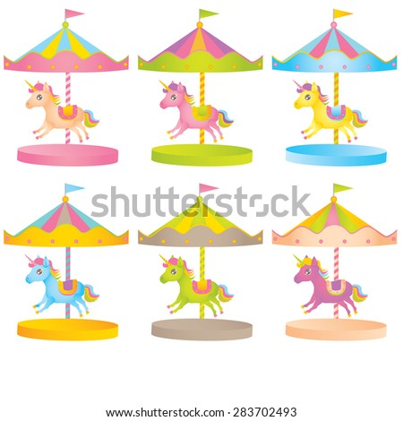 Carousel with horses - stock vector