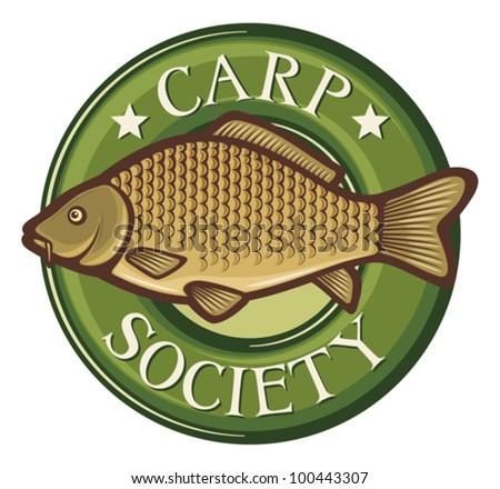 carp society symbol (carp society badge, carp fish emblem, carp society sign, common carp) - stock vector