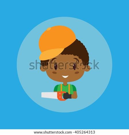 Carpenter cartoon illustrator vector design. - stock vector