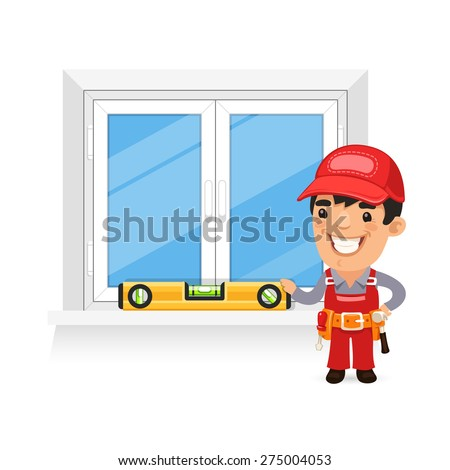 Carpenter Checks the New Window. Isolated on white background. - stock vector
