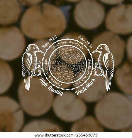 carpenter craft style background with woodpecker around cut down a tree middle on old stack of wood blur photo - stock vector