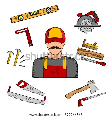 Carpenter profession with tools and equipment icons with hammer and hand saw, axe and circular saw, rasp and jack plane, measuring level and angle ruler. Sketch style - stock vector
