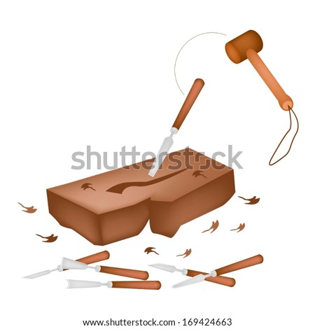 Carpenter Punching A Wooden Mallet to A Chisel for Cut and Sculpt A Piece of Wood, Create A Sculpture.  - stock vector