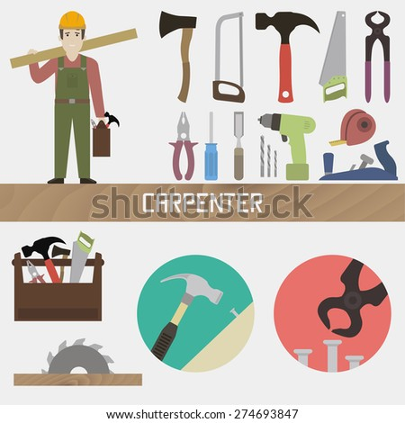 Carpenter. Set in a flat style - stock vector