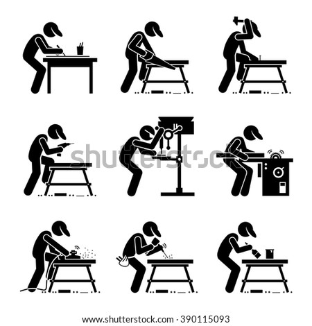 Carpenter using Woodworking Tools and Equipment with a Workbench at a Workshop  - stock vector