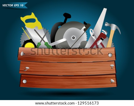 Carpentry, construction hardware tools collage with wood plank texture background, Vector template design - stock vector