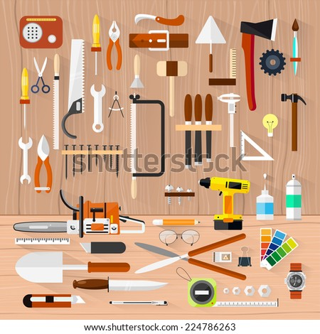 Carpentry. Construction hardware tools.Tree texture background.Vector color flat illustrations. - stock vector