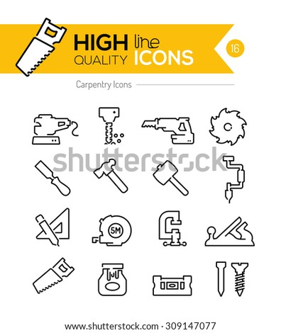 Carpentry Line Icons Series - stock vector