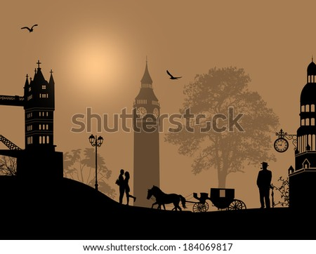 Carriage and lovers at night in London, romantic background, vector illustration - stock vector