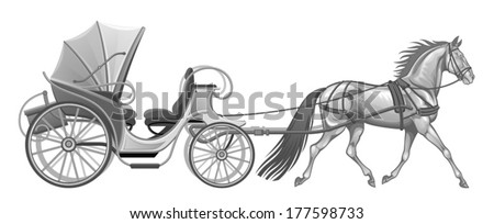 Carriage with horse - stock vector