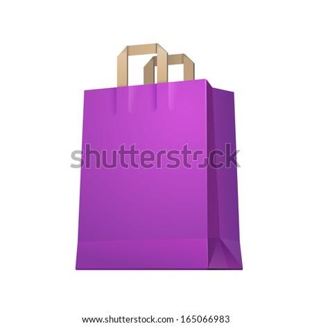 Carrier Shopping Paper Bag Purple Violet Empty EPS10  - stock vector
