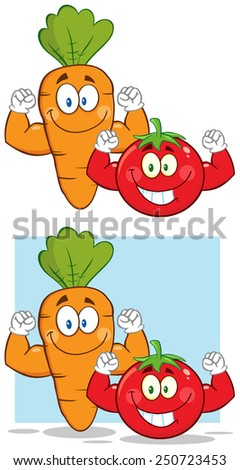 Carrot And Tomato Cartoon Mascot Characters Flexing. Vector Collection Set Isolated On White - stock vector