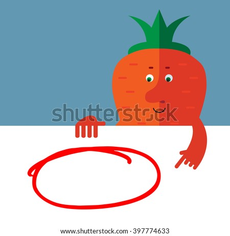Carrot  holding a blank sheet and pointing on red empty frame. Flat style vector illustration . Funny cartoon character - stock vector