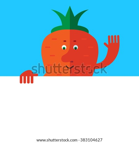 Carrot  holding a blank sheet and waving hand greeting. Flat style vector illustration . Funny cartoon character - stock vector