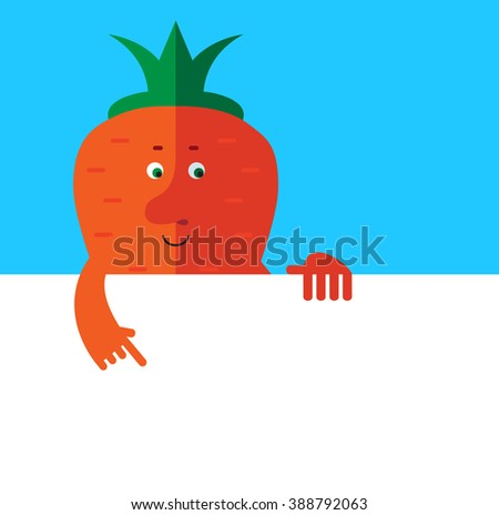 Carrot  holding a blank sheet pointing. Flat style vector illustration . Funny cartoon character - stock vector