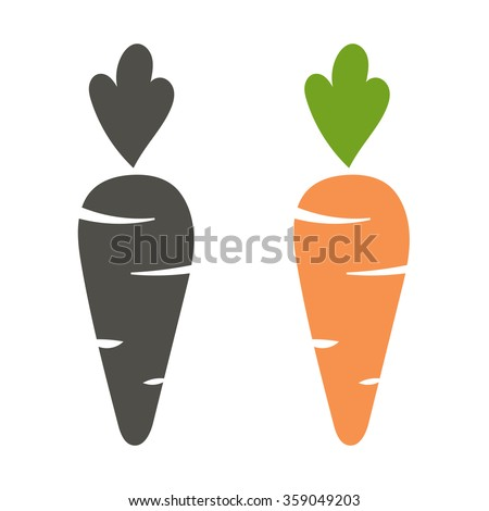 Carrot vector icon cartoon style isolated on white background. Carrot vector illustration. Carrot isolated black and color icons vector silhouette. Carrot, vegetable, food, vector flat style - stock vector