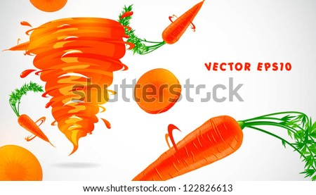 carrot with juicy twister - stock vector