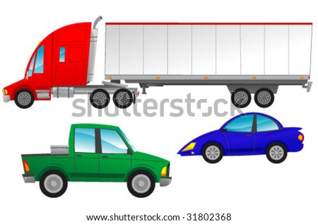 Cars and Trucks 2 - stock vector