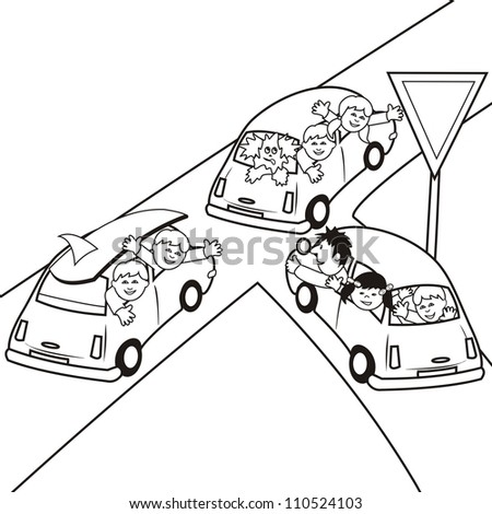 cars-coloring book - stock vector