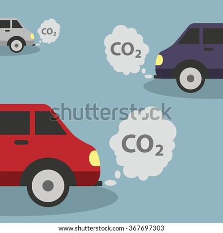 Cars emits CO2, carbon dioxide. Concept of smog, pollutant, damage, contamination, garbage, combustion products.  - stock vector