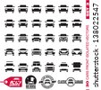 Cars front icons. Cars icons collection. Cars labels. 30 isolated vector forms set 3. - stock vector