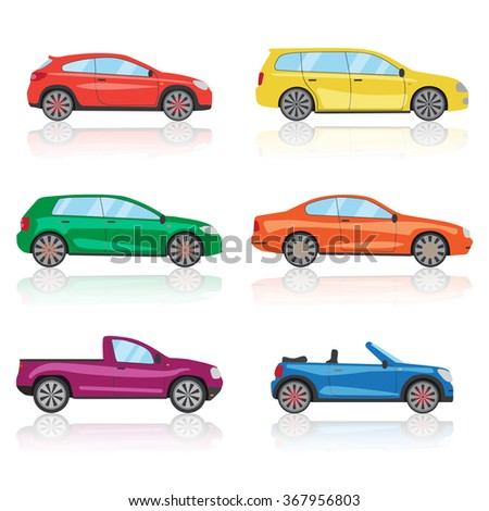 Cars icons, car set. 6 cars icon, car different, colorful car icon, 3d car icon, sport car icon, car icon, car front, car sign, mini car, smart car, car side, car racing, car icon set. Car icon vector - stock vector