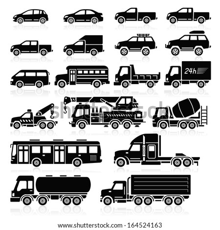 Cars icons set. Vector illustration. - stock vector