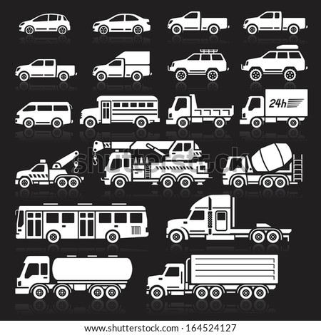 Cars icons white color set. Vector illustration. - stock vector