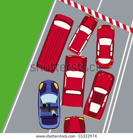 Cars in rush hours - stock vector