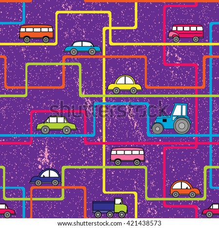 Cars seamless pattern. Cute cartoon cars are going on bright colorful lines. Kids background. Good texture for rompers, wallpapers, mats, and other kids goods. - stock vector