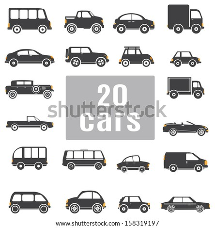 Cars. Set icons - stock vector