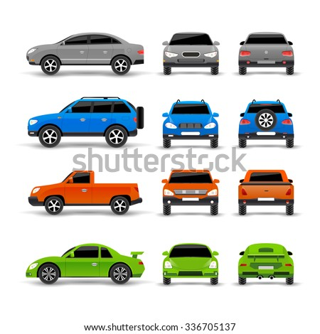 Cars side front and back icons set isolated vector illustration - stock vector