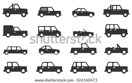 Cars simply icons - stock vector