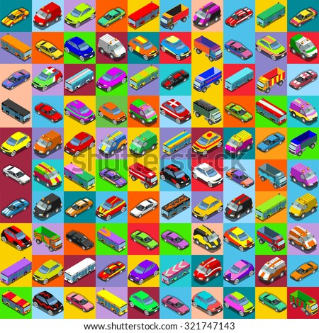 Cars 2 Vector Illustration. 100 Flat Vehicles Icons Set. Collection Of Colorful Icons. HD Graphic Design for Web Website Template Presentation Mobile App Advertising  - stock vector