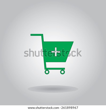 Cart icon, vector illustration. Flat design style. - stock vector