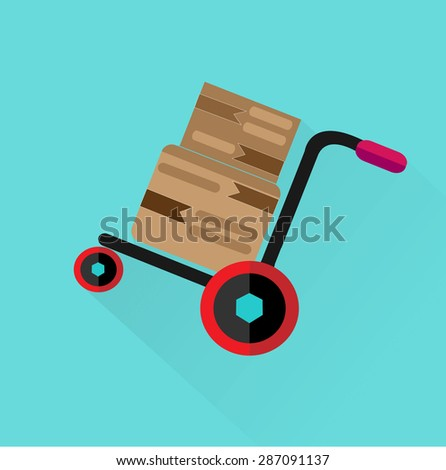 Cart shipping box,delivery service,eps10. - stock vector
