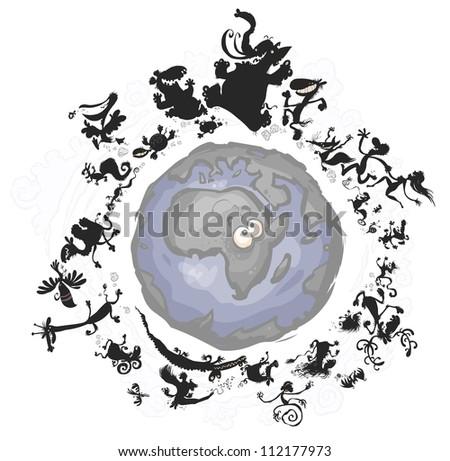 Carton Animal Silhouettes around the Earth. - stock vector