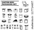 carton box set, packaging design set, shipping - stock vector