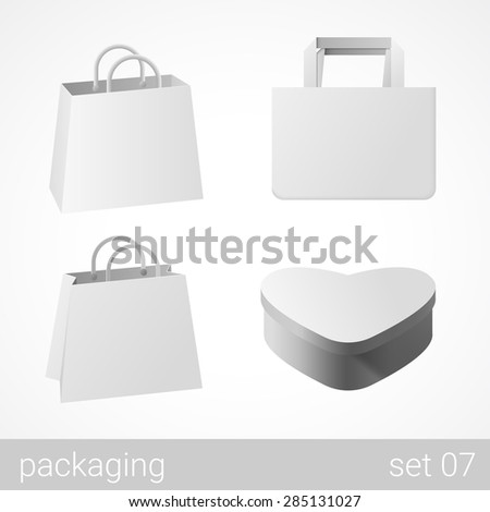 Carton cardboard bags and gift wrapping package set. Blank white packaging objects isolated on white vector illustration. - stock vector
