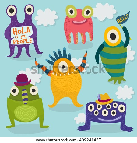 Carton monsters set. Bright happy monsters. Set of vector monsters in different poses. Vector illustration - stock vector