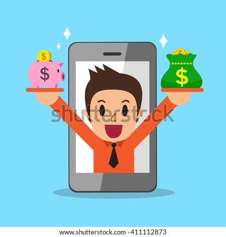 Cartoon a businessman earning money with smartphone - stock vector