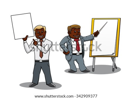 Cartoon african american businessmen pointing at blank whiteboard and flip chart. Making presentation, business training or seminar - stock vector
