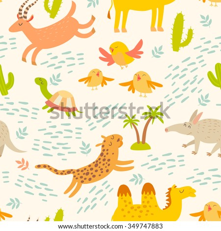 Cartoon african animals seamless pattern. Cute leopard, aardvark, camel, antelope, birds, turtle. Children's wallpapers - stock vector