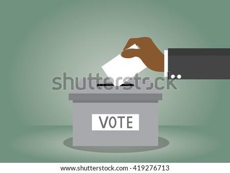 Cartoon, African businessman votes Voting., vector eps10 - stock vector