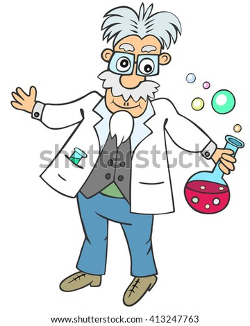 Cartoon aged man holding round flask with pink bubbling liquid - stock vector