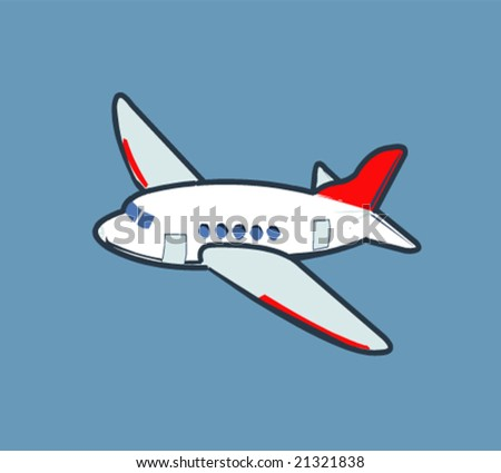 Cartoon airplane flying in the sky - stock vector