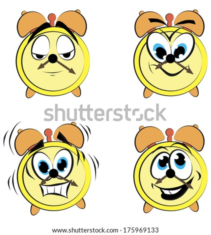 Cartoon alarm clock ikons - stock vector